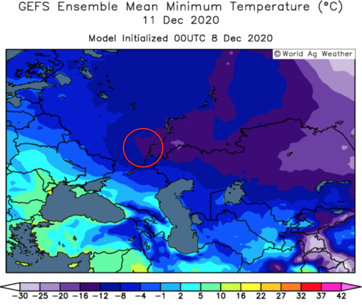 Freezing temperature in the Northern part of the Russian wheat area.