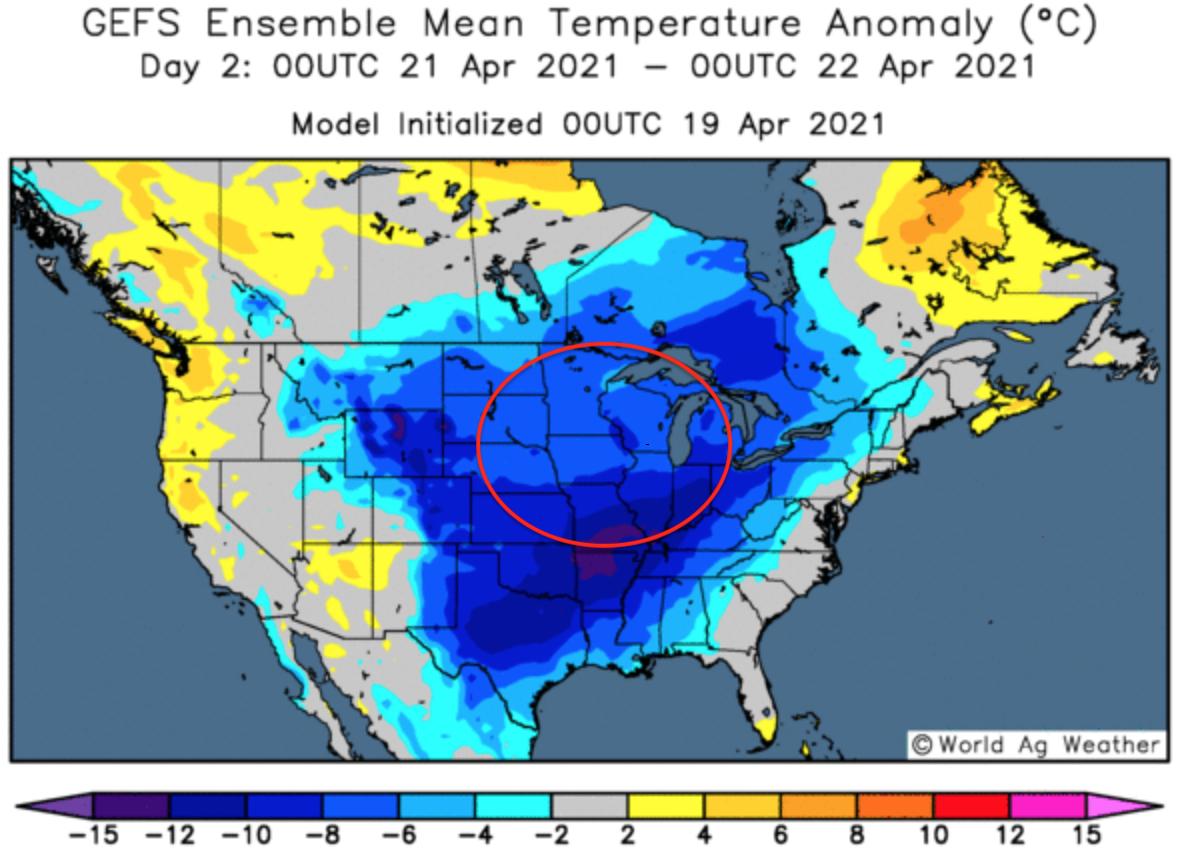 ODA Market Alert: US 🇺🇸 weather market could slow plantings.